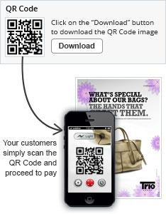 Your customers simply scan the QR Code and proceed to pay